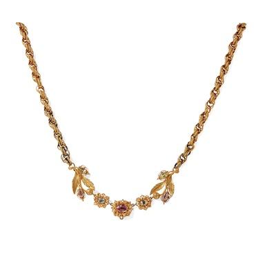 Lot 21 - A multi-gem set necklace