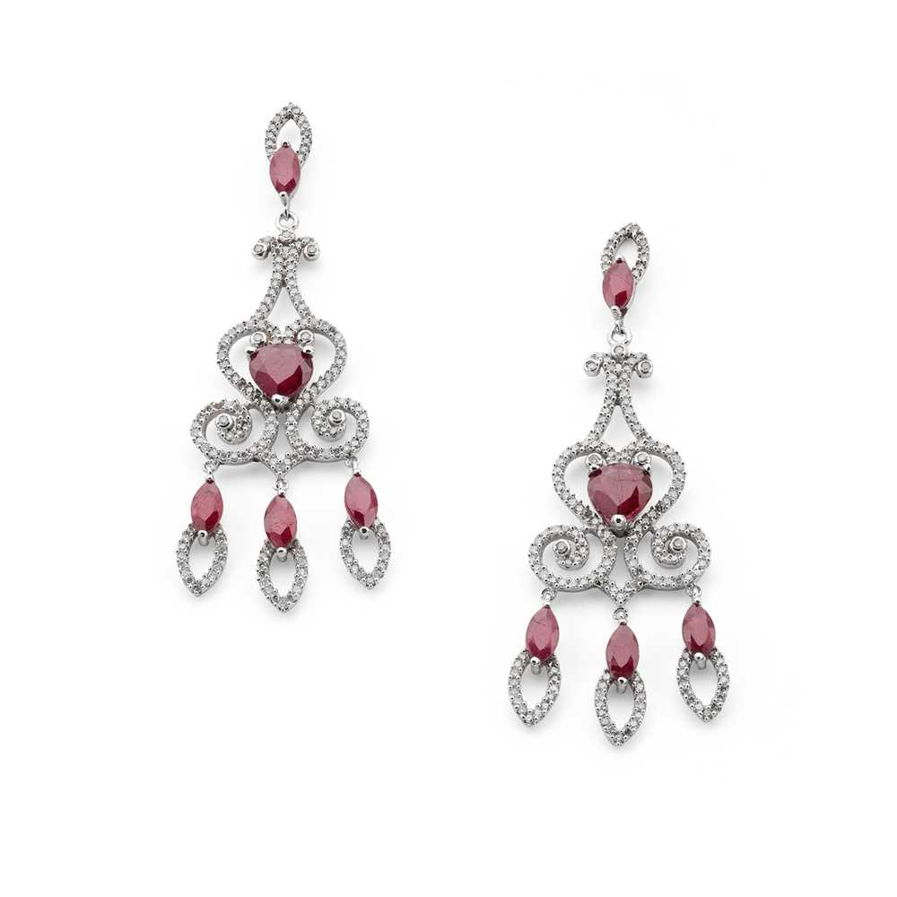 Lot 86 - A pair of ruby and diamond pendant earrings