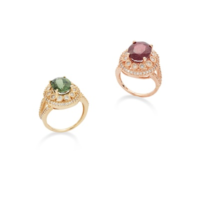 Lot 111 - Two diamond and gem-set rings ring