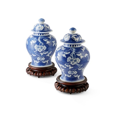Lot 153 - PAIR BLUE AND WHITE LIDDED JARS