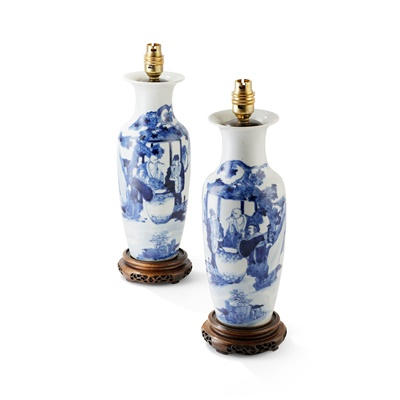 Lot 155 - PAIR OF BLUE AND WHITE VASES