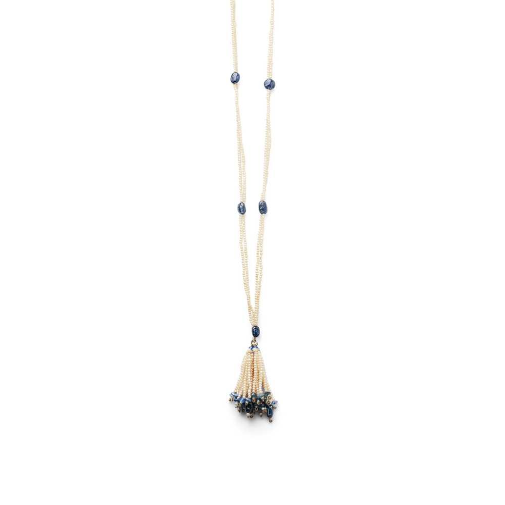 Lot 12 - A seed pearl and sapphire bead sautoir