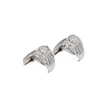 Lot 5 - A pair of diamond set cufflinks