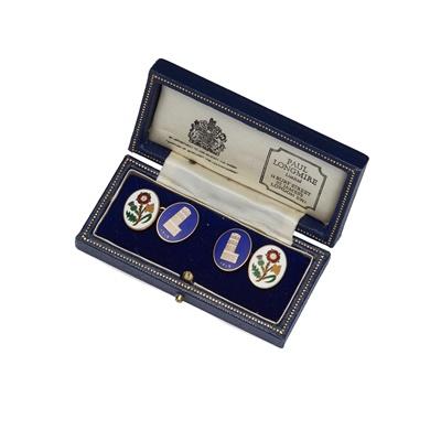 Lot 96 - A pair of 9ct enamelled cufflinks, Paul Longmire
