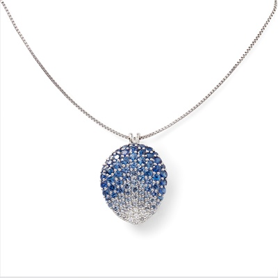 Lot 84 - A sapphire and diamond set pendant