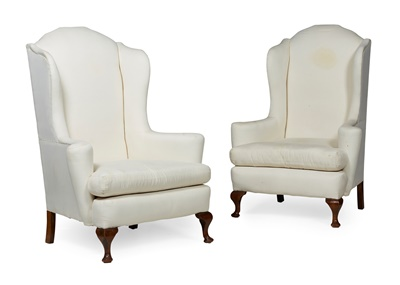 Lot 14 - PAIR OF GEORGE I STYLE WINGBACK ARMCHAIRS