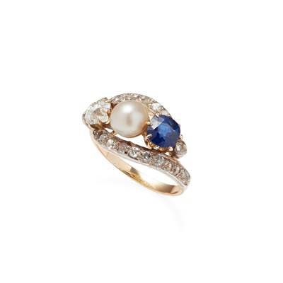Lot 80 - A sapphire, diamond and pearl set ring