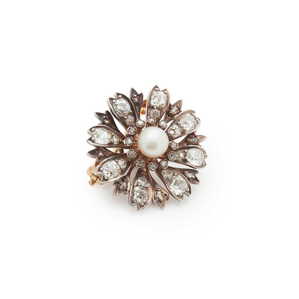 Lot 4 - A French late 19th century pearl and diamond brooch