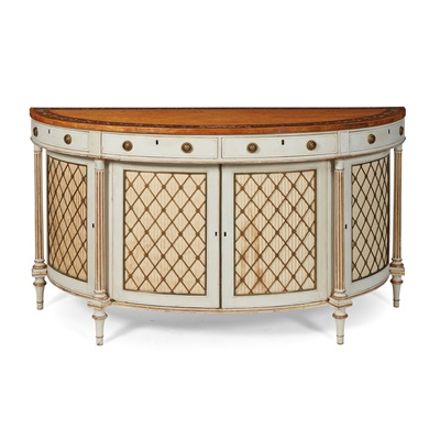 Lot 100 - FINE GEORGE III SATINWOOD, KINGWOOD, PARCEL GILT AND GREY PAINTED DEMILUNE COMMODE