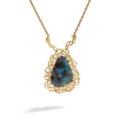 Lot 81 - A boulder opal and diamond-set necklace, by David Deakin, circa 1975