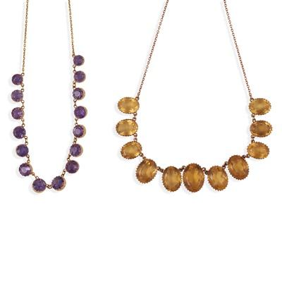 Lot 184 - Two gem-set fringed necklaces