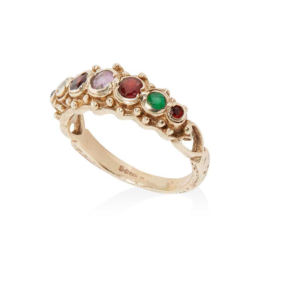 Lot 3 - A 9ct gold multi-gem acrostic ring