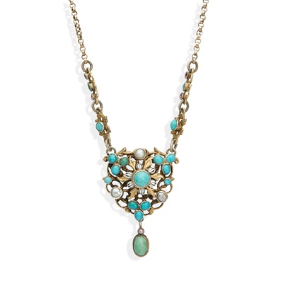 Lot 108 - An Austrian turquoise and pearl necklace