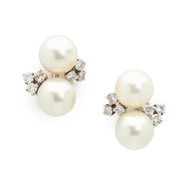 Lot 99 - A pair of diamond and pearl cluster earrings