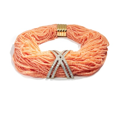 Lot 41 - A coral and diamond-set necklace
