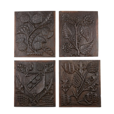 Lot 1 - A GROUP OF FOUR CARVED PANELS