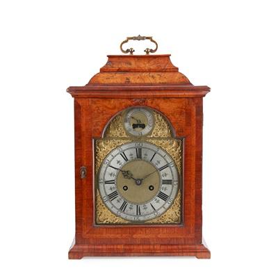 Lot 19 - GEORGE II BURR YEW AND WALNUT BRACKET CLOCK, RANDLE MADDOCK OF LEEK