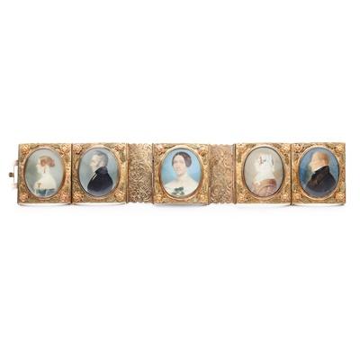 Lot 5 - A 19th century portrait miniature bracelet