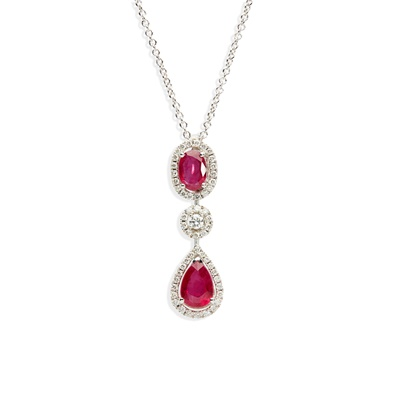 Lot 44 - An 18ct white gold ruby and diamond pendant, by Mappin & Webb