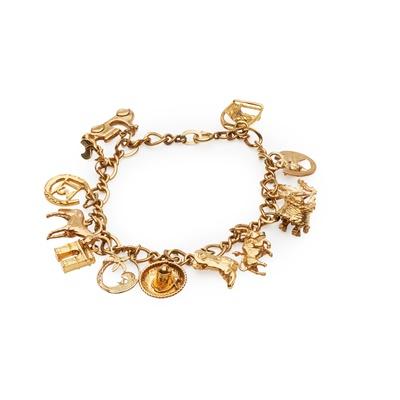 Lot 131 - A 9ct gold charm bracelet
