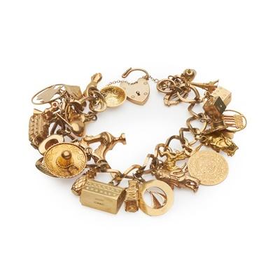 Lot 132 - A 9ct gold charm bracelet