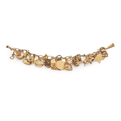 Lot 126 - A 9ct gold charm bracelet