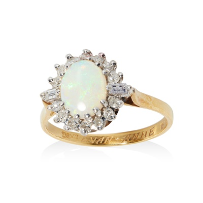 Lot 48 - An opal and diamond cluster ring