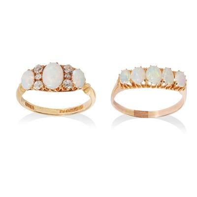 Lot 51 - Two opal rings