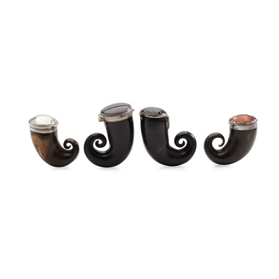 Lot 118 - A COLLECTION OF CURLY HORN SNUFF MULLS