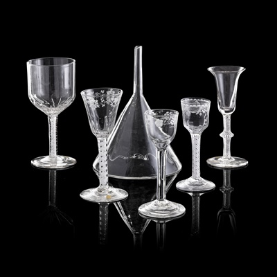 Lot 37 - FIVE VARIOUS  GEORGIAN DRINKING GLASSES
