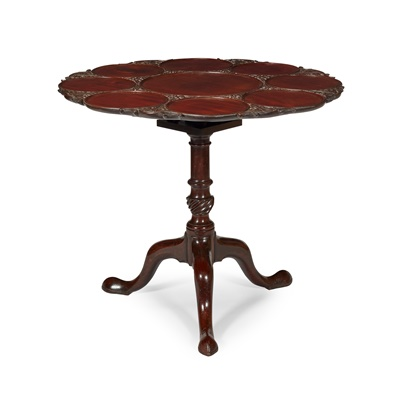 Lot 52 - GEORGE III MAHOGANY CARVED BIRDCAGE SUPPER TABLE