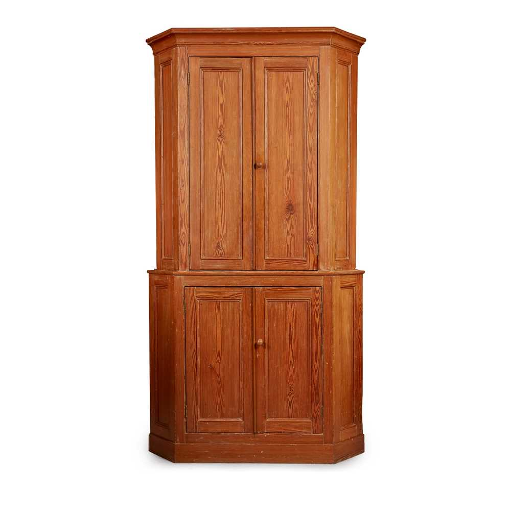 Lot 169 - A LARGE VICTORIAN PITCH PINE CORNER CABINET