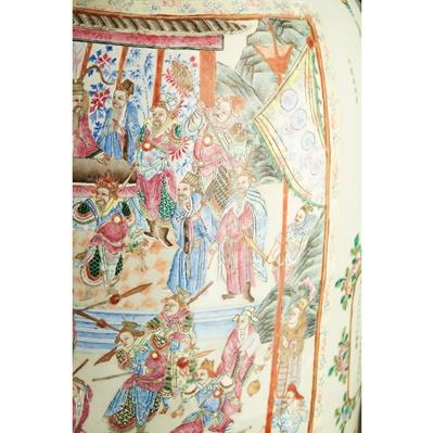 Lot 23 - A PAIR OF MONUMENTAL CANTONESE FAMILLE ROSE PORCELAIN FLOOR VASES