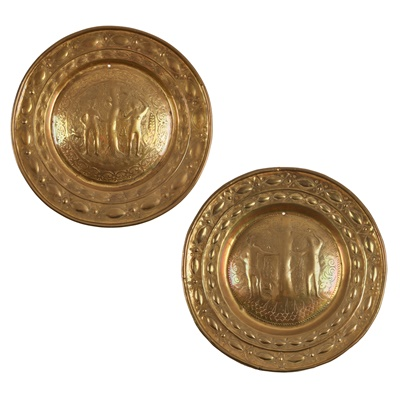 Lot 47 - TWO GERMAN NUREMBERG BRASS 'ADAM AND EVE' ALMS DISHES