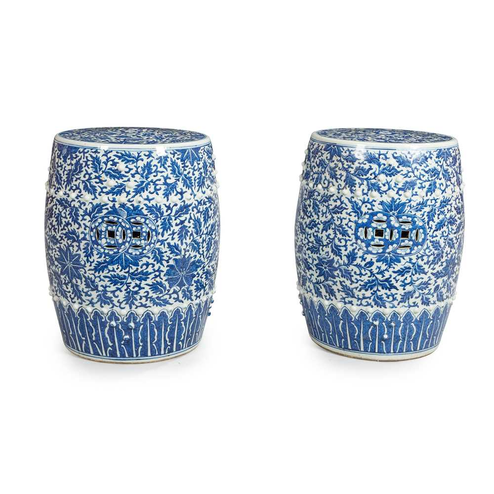 Lot 7 - A PAIR OF CHINESE BLUE AND WHITE PORCELAIN GARDEN SEATS