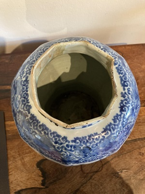 Lot 6 - A DELFT WARE BLUE AND WHITE BALUSTER JAR AND COVER