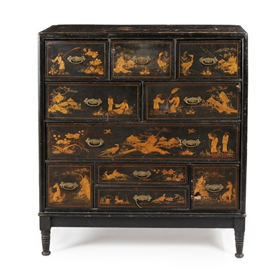 Lot 45 - A GEORGIAN BLACK JAPANNED CHEST OF DRAWERS