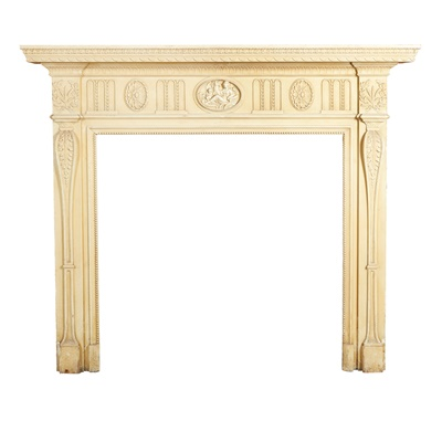 Lot 180 - A LATE GEORGIAN PAINTED PINE AND GESSO FIRE SURROUND