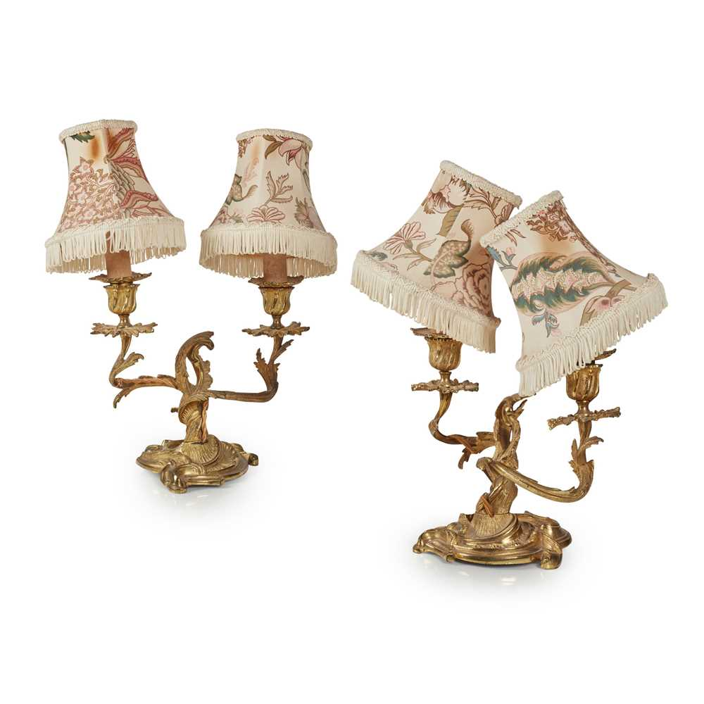 Lot 36 - A PAIR OF ROCOCO STYLE GILT BRONZE CANDELABRA