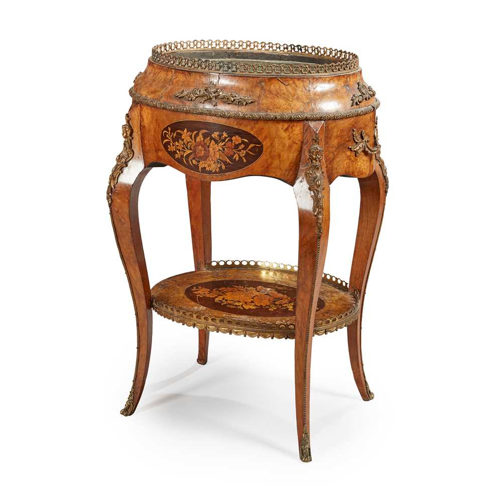 Lot 38 - A LOUIS XV STYLE WALNUT, MARQUETRY AND GILT METAL JARDINIÈRE