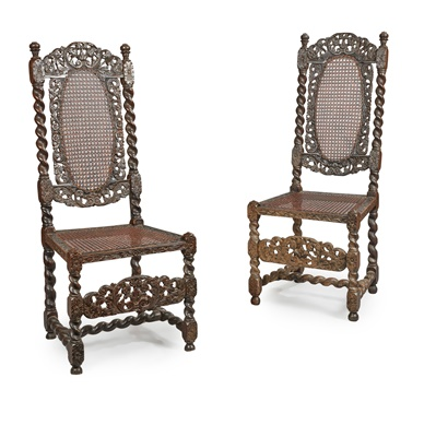 Lot 9 - A PAIR OF CHARLES II STAINED AND EBONISED BEECH CHAIRS