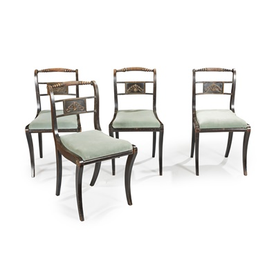 Lot 141 - A SET OF FOUR REGENCY EBONISED AND BRASS MOUNTED CHAIRS