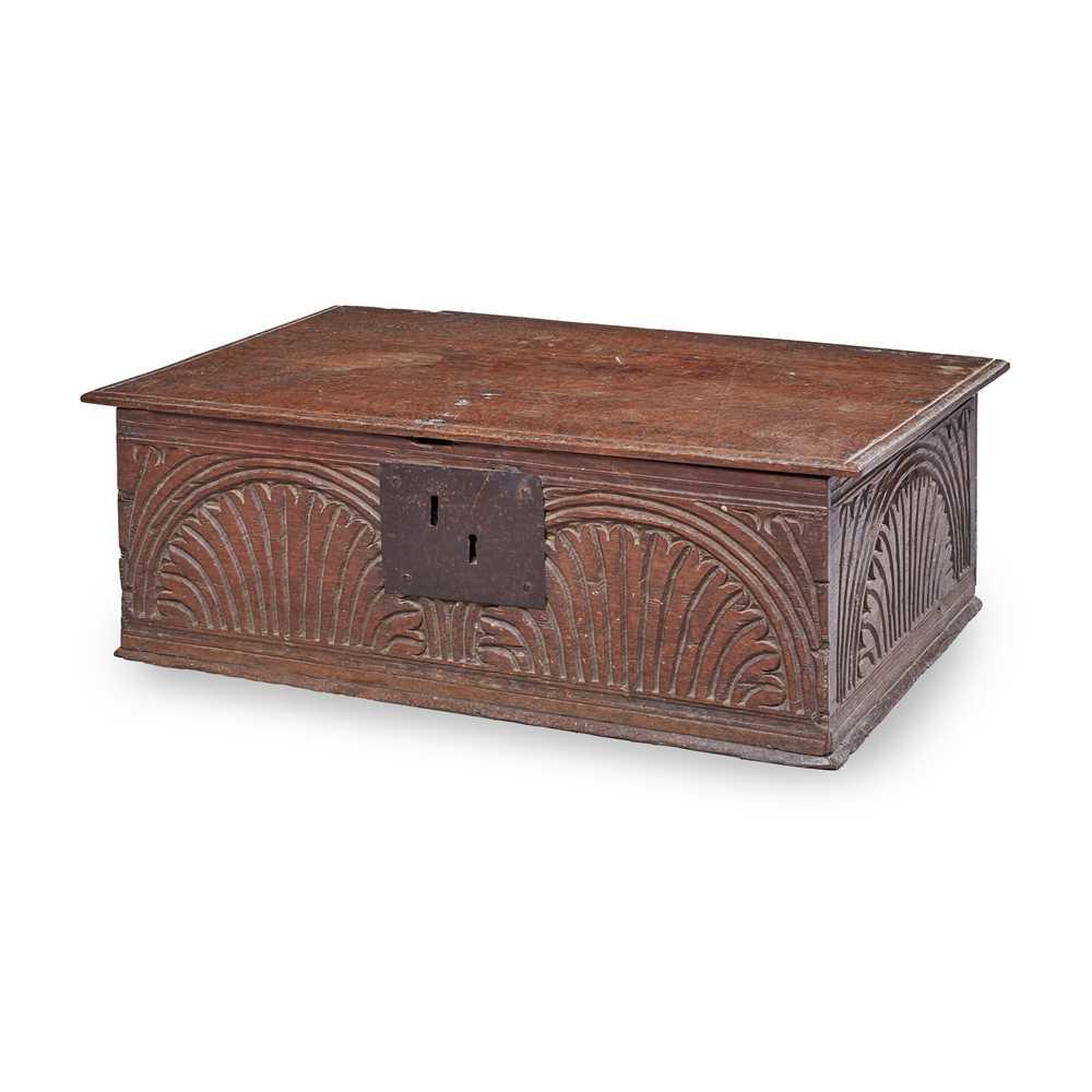 Lot 8 - AN OAK BIBLE BOX