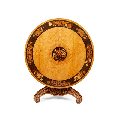 Lot 50 - KING LOUIS-PHILIPPE'S AMBOYNA, WALNUT, IVORY AND EBONY MARQUETRY CENTRE TABLE, ATTRIBUTED TO GEORGE BLAKE & CO.