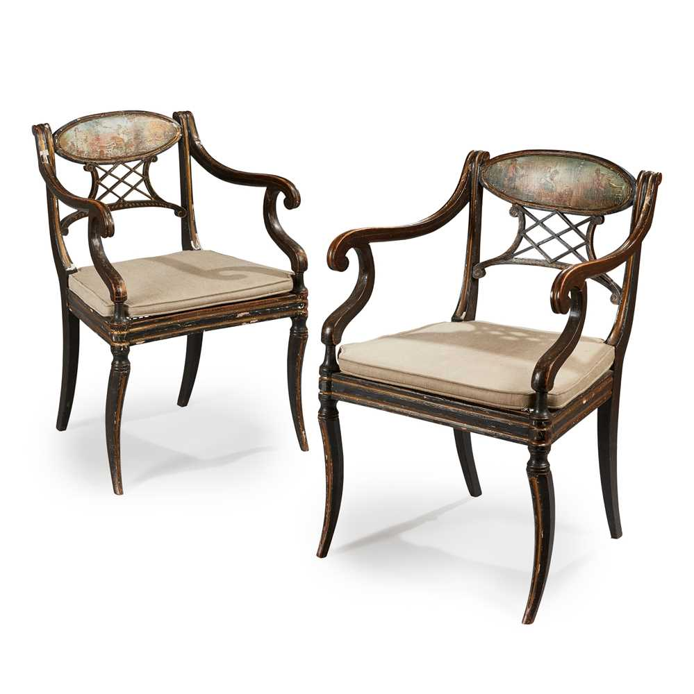 Lot 46 - A PAIR OF EARLY REGENCY EBONISED, PAINTED AND GILT OPEN ARMCHAIRS