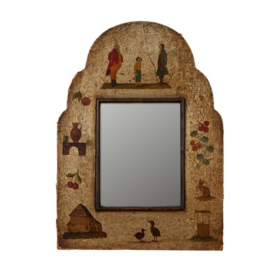 Lot 40 - PAINTED LEATHER AND WOOD FRAMED FOLK ART MIRROR