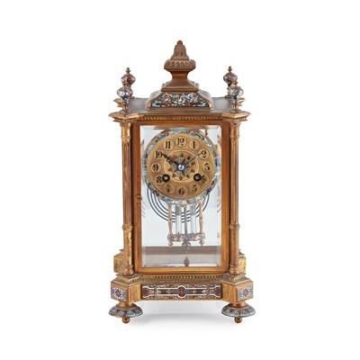 Lot 481 - FRENCH GILT BRONZE AND CHAMPLEVÉ ENAMEL FOUR GLASS MANTEL CLOCK