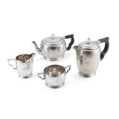 Lot 375 - A matched Art Deco four-piece tea service