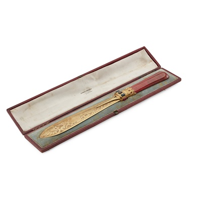 Lot 105 - A VICTORIAN CASED GILT PAPER KNIFE