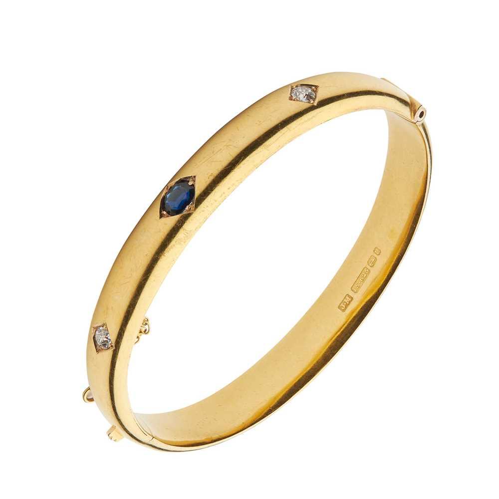 Lot 1 - A Victorian 15ct gold sapphire and diamond bangle